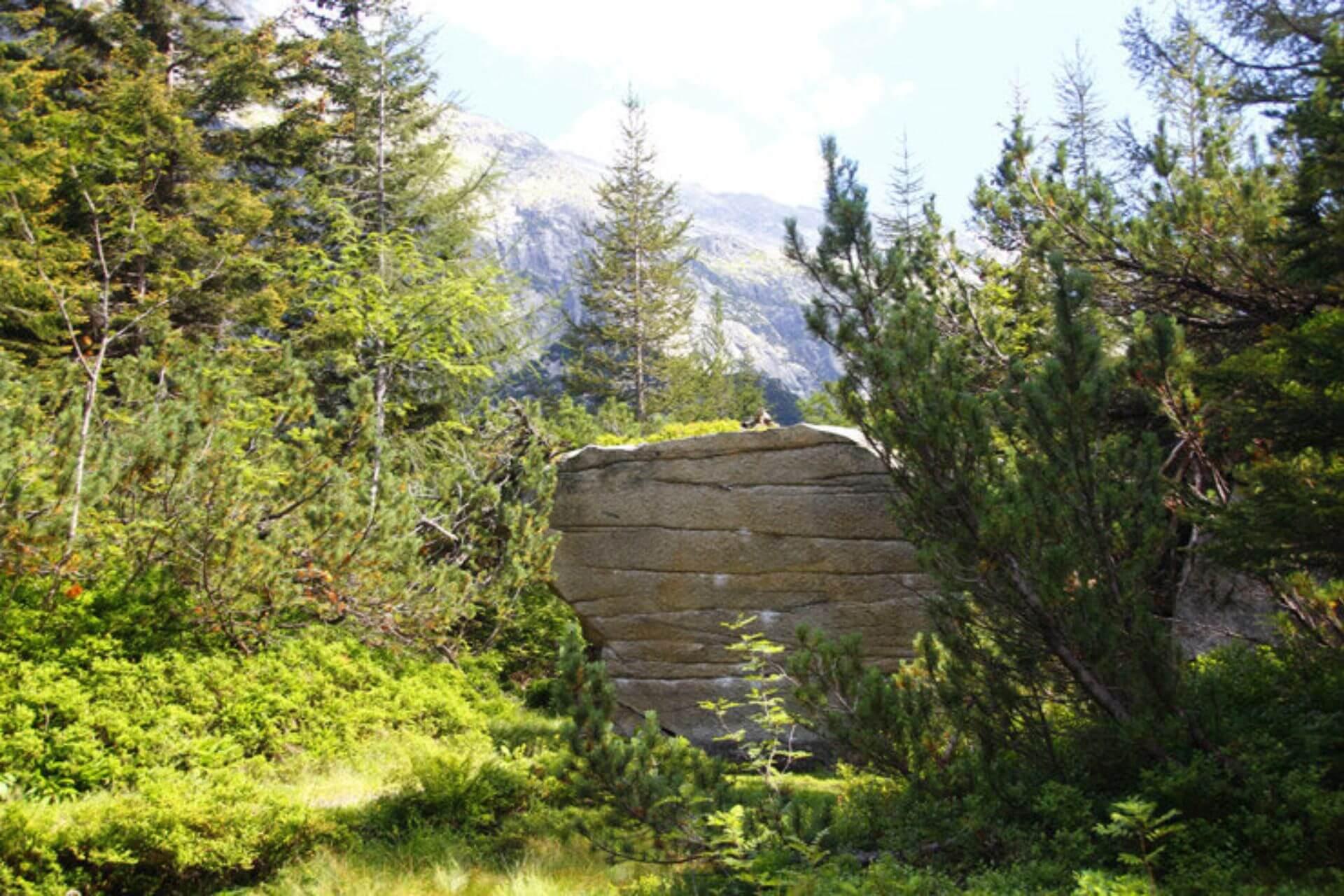 Bouldern am Grimselpass mit wunderschönem Blick auf die Berge.