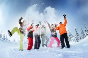 group-friends-snowboarders-having-fun-on
